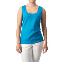 Joan Vass Cotton Shell Tank Top - Scoop Neck (For Women) in Bright Blue - Closeouts
