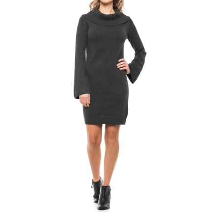 Joan Vass Cowl Neck Sweater Dress - Long Sleeve (For Women) in Chalkboard Heather - Closeouts