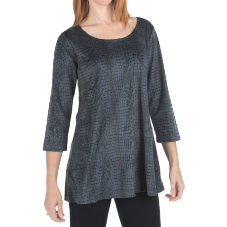 Joan Vass Croc Print Shirt - 3/4 Sleeve (For Women) in Black