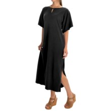 Joan Vass Dolman Knit Dress - Cotton, Short Sleeve (For Women) in Black - Overstock