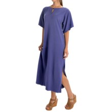 Joan Vass Dolman Knit Dress - Cotton, Short Sleeve (For Women) in Purple Iris - Overstock