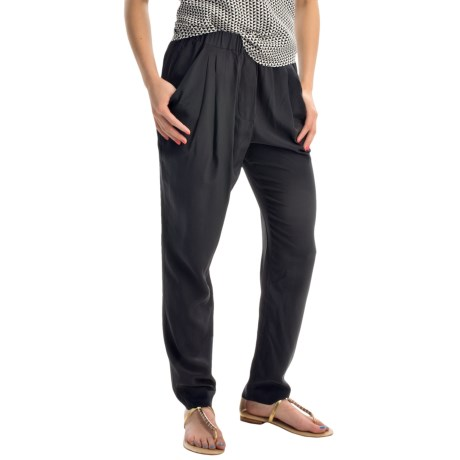 Joan Vass Drape Pocket Silk Pants (For Women)