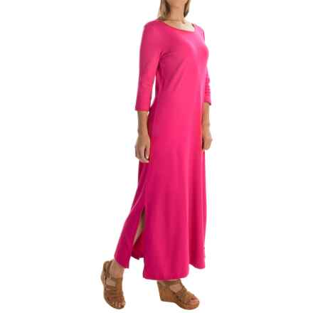 Joan Vass Easy Dress - 3/4 Sleeve (For Women) in Azeala - Overstock