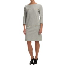 Joan Vass Four-Pocket Cotton Shift Dress - 3/4 Sleeve (For Women) in Grey - Closeouts