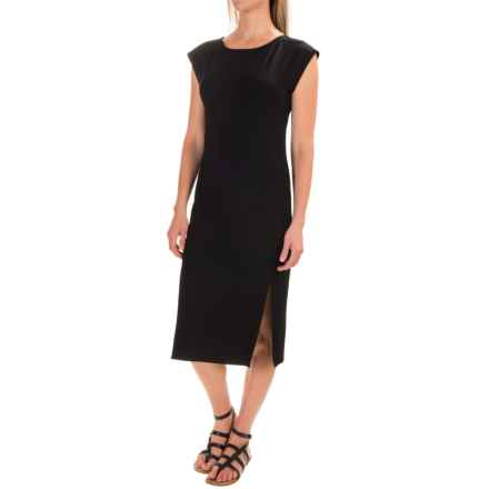 Joan Vass Front-Slit Dress - Sleeveless (For Women) in Black - Closeouts
