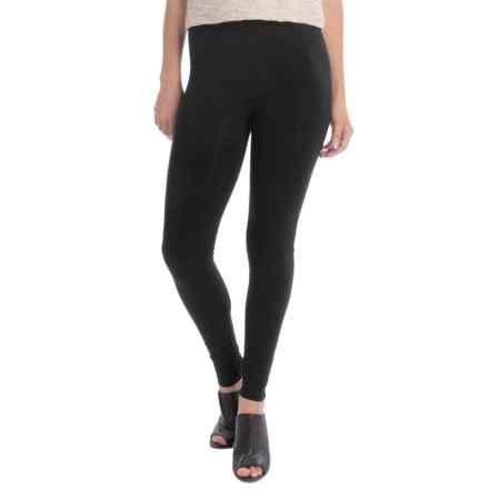 Joan Vass Full-Length Leggings - Cotton Blend, Slim Fit (For Women) in Pitch Black - Overstock