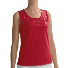Joan Vass Grommet Detail Tank Top (For Women) in Salsa Red - Closeouts