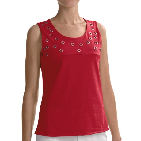 Joan Vass Grommet Detail Tank Top (For Women) in Salsa Red