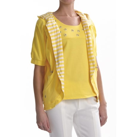 Joan Vass Hooded Dolman Light Shirt (For Women) in Flash Yellow