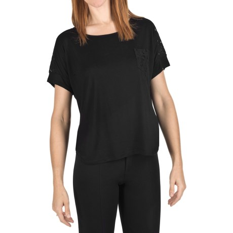 Joan Vass Lace Back Shirt - Short Sleeve (For Women) in Black