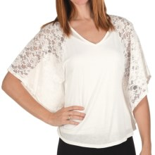 Joan Vass Lace Jersey Shirt - Bat Wing, Short Sleeve (For Women) in Ivory - Closeouts