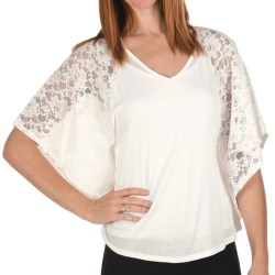 Joan Vass Lace Jersey Shirt - Bat Wing, Short Sleeve (For Women) in Ivory