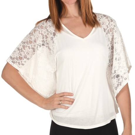Joan Vass Lace Jersey Shirt - Bat Wing, Short Sleeve (For Women) in Ivory