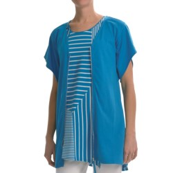 Joan Vass Light Knit Tunic Shirt - Zip Front, Short Sleeve (For Women) in Bright Blue
