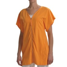 Joan Vass Light Knit Tunic Shirt - Zip Front, Short Sleeve (For Women) in Orange Splash - Closeouts