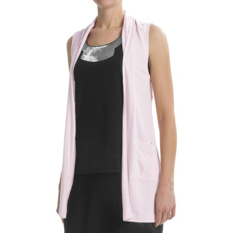 Joan Vass Long Vest with Pockets (For Women) in Pink