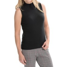 Joan Vass Mock Neck Tank Top - Cotton (For Women) in Black - Closeouts