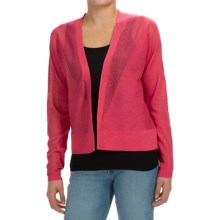 Joan Vass Open Front Cardigan Sweater (For Women) in Raspberry - Closeouts