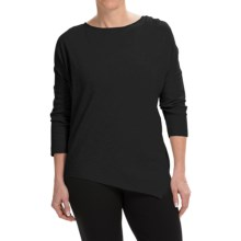 Joan Vass Oversized Asymmetric Shirt - 3/4 Sleeve (For Women) in Pitch Black - Closeouts