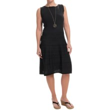 Joan Vass Pointelle Knit Dress - Sleeveless (For Women) in Black - Closeouts
