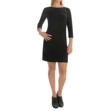 Joan Vass Ponte Rayon Dress - 3/4 Sleeve (For Women) in Black - Overstock