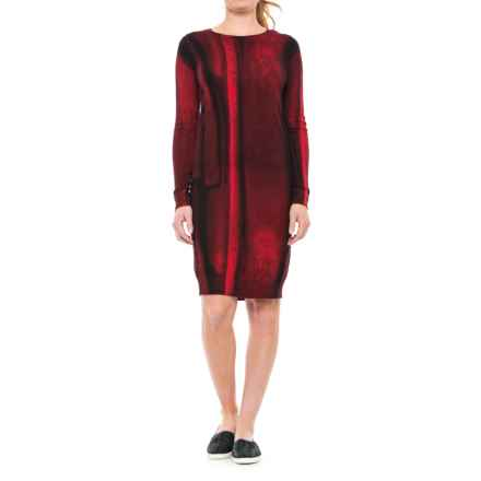 Joan Vass Printed Dress - Long Sleeve (For Women) in Red/Black Print - Closeouts