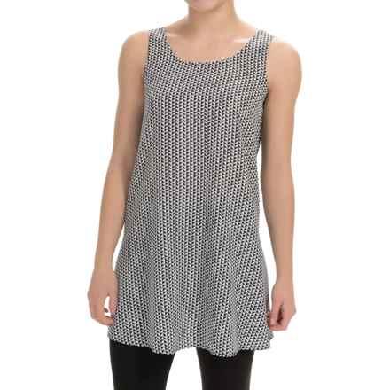 Joan Vass Printed Silk Tunic Shirt - Sleeveless (For Women) in Black Combo - Closeouts