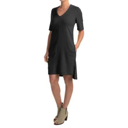 Joan Vass Rayon V-Neck Dress - Short Sleeve (For Women) in Black - Closeouts