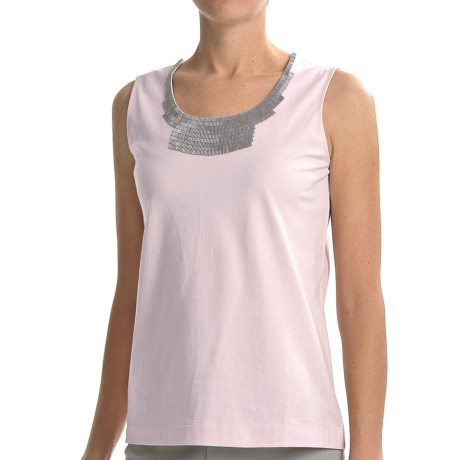 Joan Vass Sequin Necklace Tank Top (For Women) in Pink Quartz