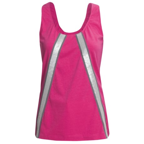 Joan Vass Sequin-Trimmed Tank Top (For Women) in Fuschia