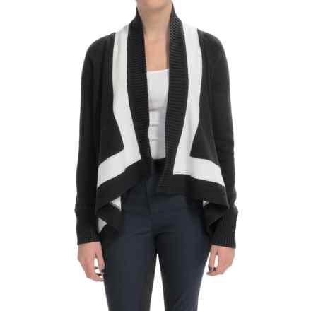Joan Vass Shawl Collar Cardigan Sweater (For Women) in Black - Closeouts