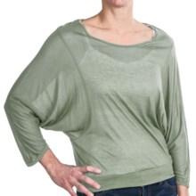 Joan Vass Sheer Scoop Neck Shirt - 3/4 Dolman Sleeve (For Women) in Olive - Closeouts