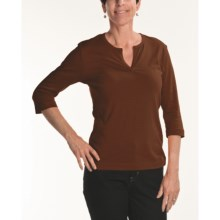 Joan Vass Slit Neck T-Shirt - Knit Cotton, 3/4 Sleeve (For Women) in Dark Brown - Closeouts