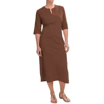 Joan Vass Split-Neck Cotton Dolman Dress - 3/4 Sleeve (For Women) in Chocolate - Closeouts