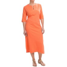 Joan Vass Split-Neck Cotton Dolman Dress - 3/4 Sleeve (For Women) in Melon - Closeouts