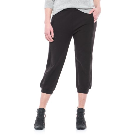 Joan Vass Stretch French Terry Crop Pants (For Women) in Black