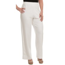 Joan Vass Stretch Interlock Full-Length Pants (For Women) in Bright White - Closeouts