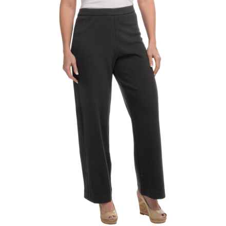 Joan Vass Stretch Interlock Full-Length Pants (For Women) in Pitch Black - Closeouts