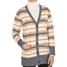 Joan Vass Striped Cardigan Sweater - Cotton (For Women) in Grey Flannel - Closeouts