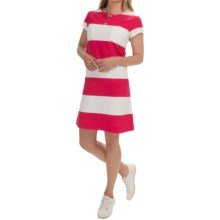 Joan Vass Striped Cotton Dress - Short Sleeve (For Women) in Raspberry - Closeouts