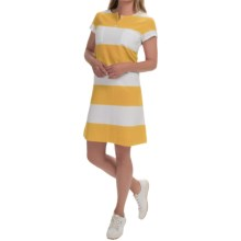 Joan Vass Striped Cotton Dress - Short Sleeve (For Women) in Sunset - Closeouts