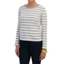 Joan Vass Striped Cotton Shirt - Long Sleeve (For Women) in Grey - Closeouts