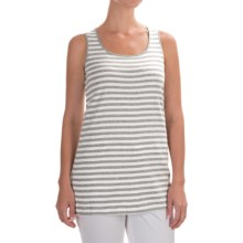 Joan Vass Striped Cotton Tank Top - Tunic Length (For Women) in Grey Heather/White - Closeouts