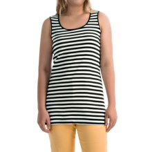 Joan Vass Striped Cotton Tank Top - Tunic Length (For Women) in Pitch Black/White - Closeouts