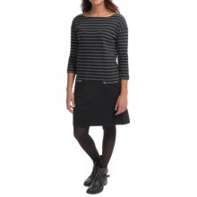 Joan Vass Striped Dress - Boat Neck, Long Sleeve (For Women) in Black Carbon - Closeouts