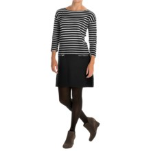 Joan Vass Striped Dress - Boat Neck, Long Sleeve (For Women) in Black/Egret - Closeouts