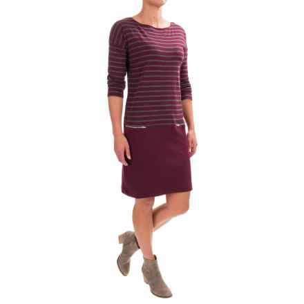 Joan Vass Striped Dress - Boat Neck, Long Sleeve (For Women) in Burgundy Carbon - Closeouts