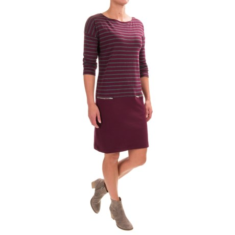 Joan Vass Striped Dress - Boat Neck, Long Sleeve (For Women)