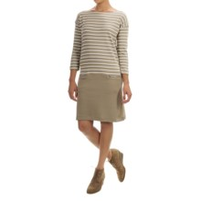 Joan Vass Striped Dress - Boat Neck, Long Sleeve (For Women) in Pebble Carbon - Closeouts