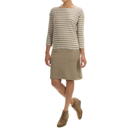 Joan Vass Striped Dress - Boat Neck, Long Sleeve (For Women)